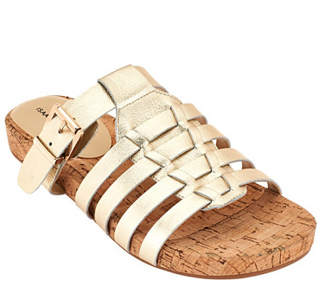 Isaac Mizrahi Live! Leather Fisherman Slip-on Sandals