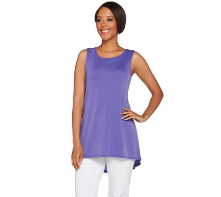 Susan Graver Premier Knit Sleeveless Swing Tunic with Hi-Low Hem