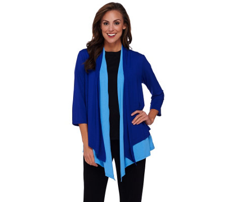 Joan Rivers Jersey Knit Layered Waterfall Cardigan
