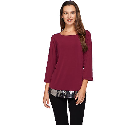 Joan Rivers Jersey Knit 3/4 Sleeve Top with Sequin Detail