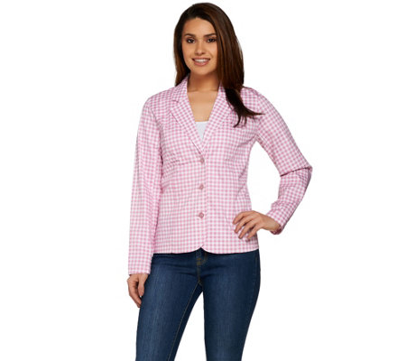Denim & Co. Long Sleeve Gingham Jacket with Button Closures
