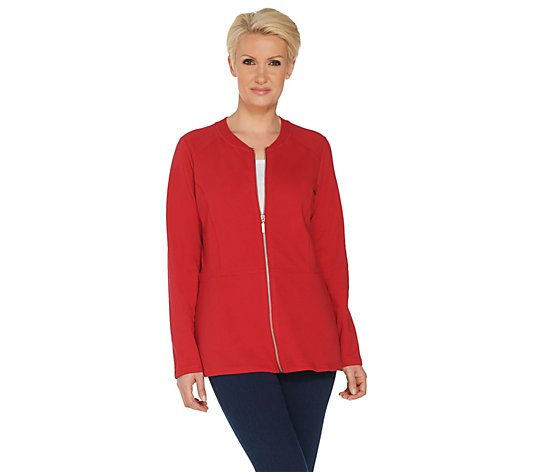 Denim & Co. Active Peplum Zip Front Long Sleeve Jacket