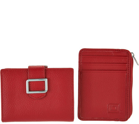 ID Stronghold RFID Buckle Trifold with Kiss Clasp and Mini Zip