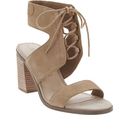 Sole Society Suede Lace-up Block Heel Sandals - Auburn