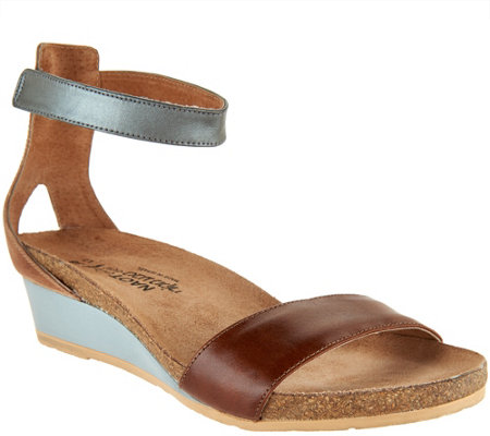 Naot Leather Ankle Strap Wedge Sandals - Pixie - Page 1 — QVC.com