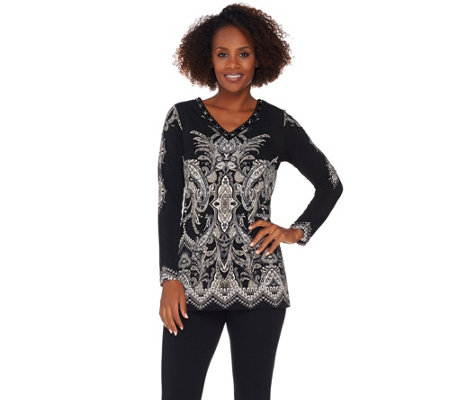 As Is Susan Graver Artisan Printed Liquid Knit Tunic