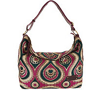 Mushmina Woven Pattern Hobo Bag w/ Leather Strap - A293355