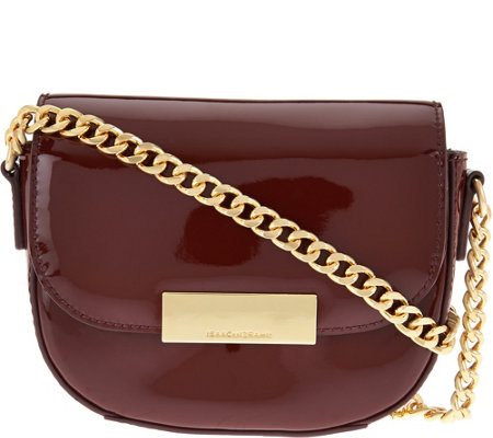 """As Is"" Isaac Mizrahi Live! Patent Leather Chain Strap Small Handbag"