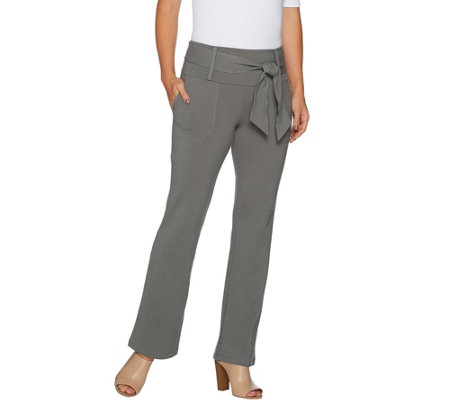 Women with Control Petite Tummy Control Boot Cut Pants w/ Tie Detail