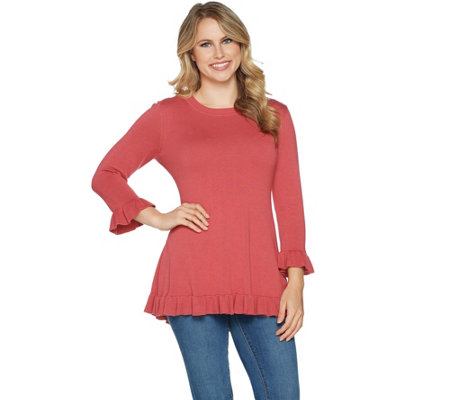 Isaac Mizrahi Live! 3/4 Sleeve Peplum Sweater with Ruffle Hem