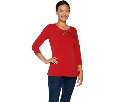 Susan Graver Liquid Knit Fit and Flare Top with Embellishments