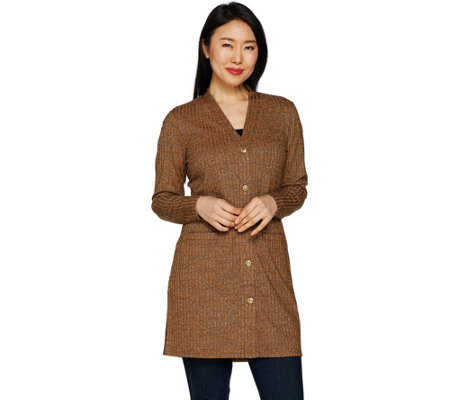 Dennis Basso Ribbed Button Front Cardigan