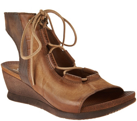 """As Is"" Miz Mooz Leather Lace-up Wedges - Satine"