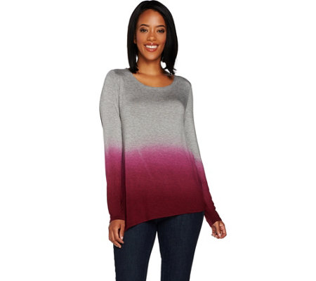 Lisa Rinna Collection Dip Dye Asymmetric Hem Long Sleeve Top