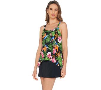 cedc33e5b7 Denim   Co. Beach Hi-Low Tankini Swimsuit with Skirt - A303155