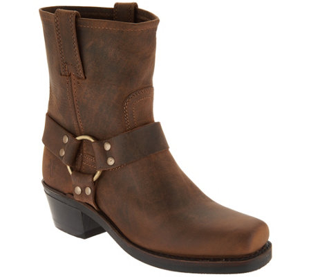 Frye Leather Pull On Ankle Boots Harness 8r