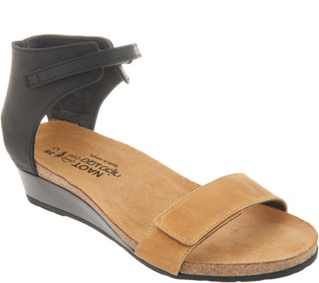 Naot Leather High Back Strap Wedge Sandals - Prophecy