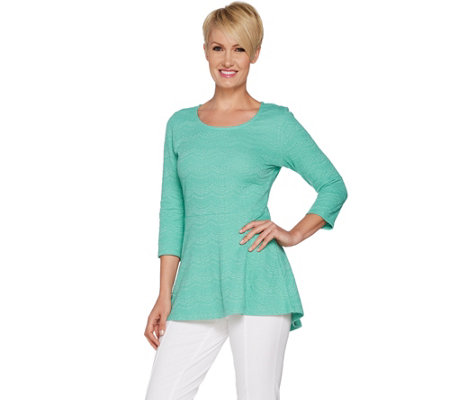 """As Is"" Isaac Mizrahi Live! Knit Scallop Jacquard Peplum Tunic"