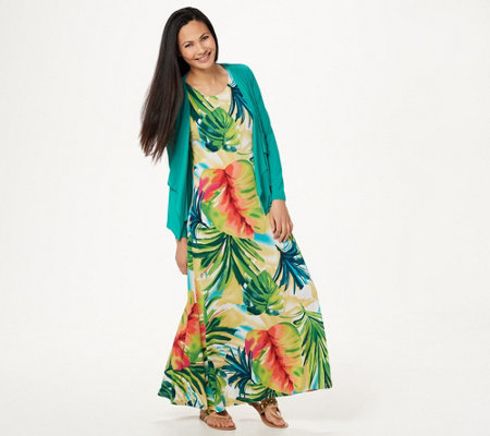 Attitudes by Renee Regular Printed Maxi Dress with Cardigan