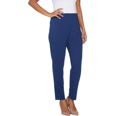 BROOKE SHIELDS Timeless Petite Ponte Ankle Pants w/ Side Zip