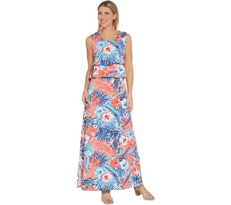 Denim & Co. Petite Floral Printed Sleeveless Knit Maxi Dress