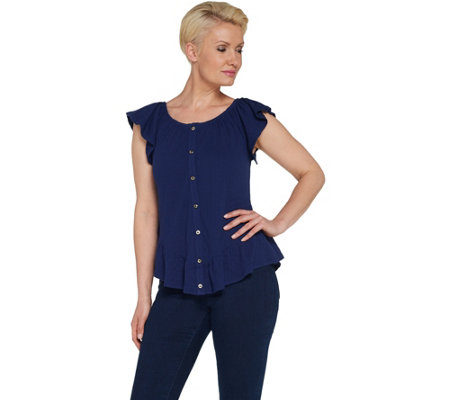 Du Jour Button Front Textured Knit Top with Ruffle Detail