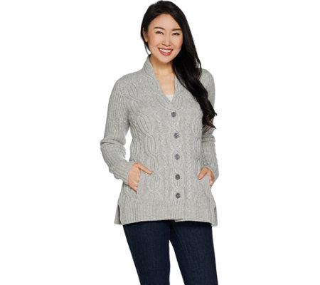 """As Is"" Isaac Mizrahi Live! 2-Ply Cashmere Cable Button Front Cardigan"