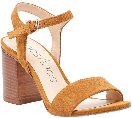 Sole Society Suede Block Heel Sandals - Linny