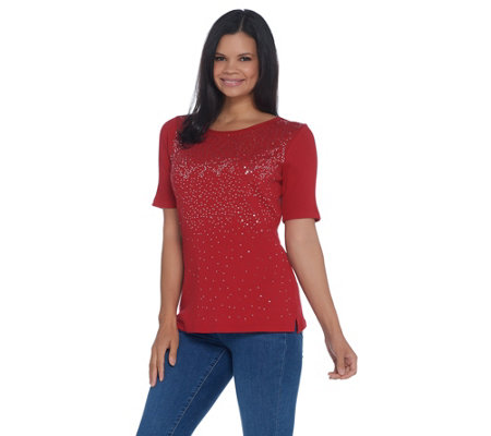 Quacker Factory Elbow-Sleeve Metallic Sequin Scoop Neck Rib Knit Top
