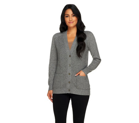 """As Is"" Isaac Mizrahi Live! 2-Ply Cashmere Patch Pocket Cardigan"