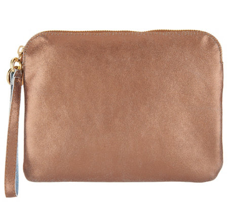 """As Is"" G.I.L.I. Unlined Leather Flat Wristlet"