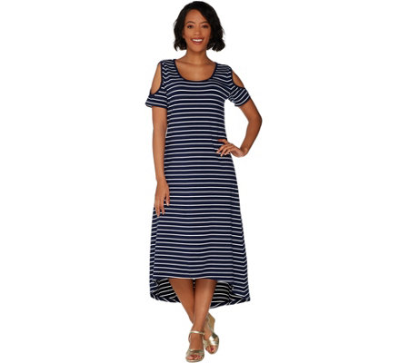 """As Is"" Isaac Mizrahi Live! Striped Cold Shoulder Hi-Low Maxi Dress"