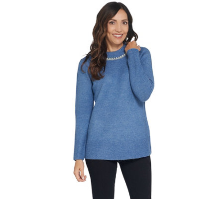 Denim & Co. Round-Neck Long-Sleeve Sweater