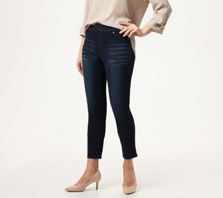 Joan Rivers Petite Stretch Denim Signature Ankle Pants