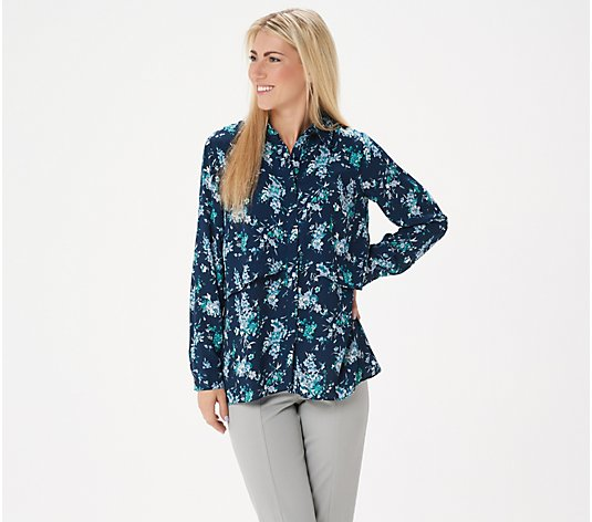 Joan Rivers Silky Floral Print Double Layer Blouse