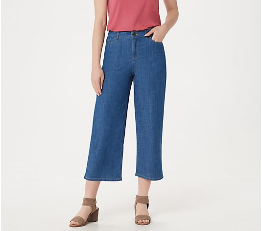LOGO by Lori Goldstein High-Waisted Crop Wide-Leg Jeans