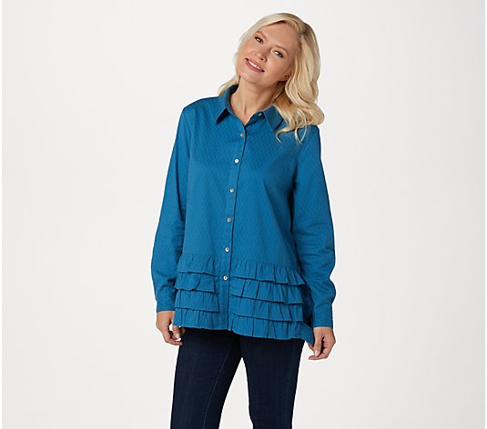 LOGO by Lori Goldstein Textured Button-Front Ruffle Blouse