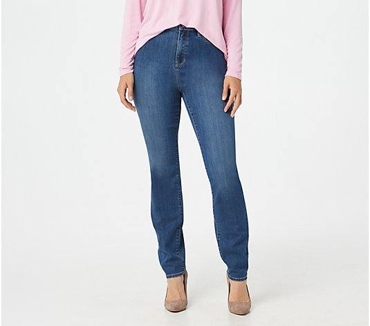 Susan Graver Petite High Stretch High-Waist Slim-Leg Jeans