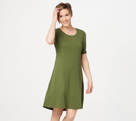 """As Is"" Isaac Mizrahi Live! Regular Pima Cotton Elbow- Sleeve Dress"