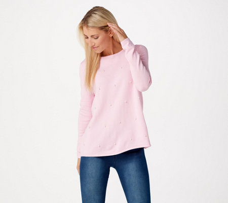 Attitudes by Renee Pearl Crew Neck Sweater