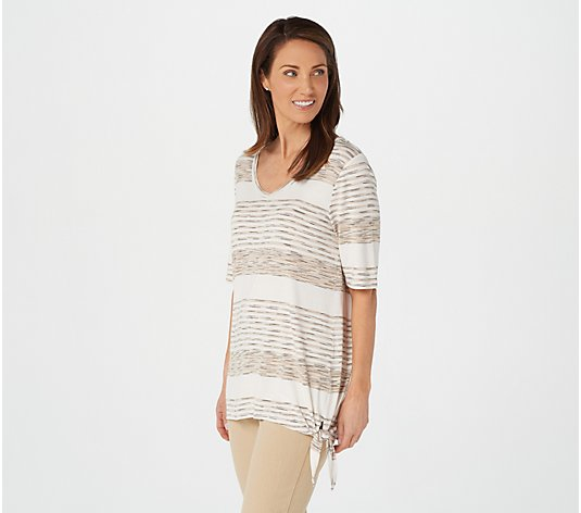 Belle by Kim Gravel Variegated Striped Side Knot Top