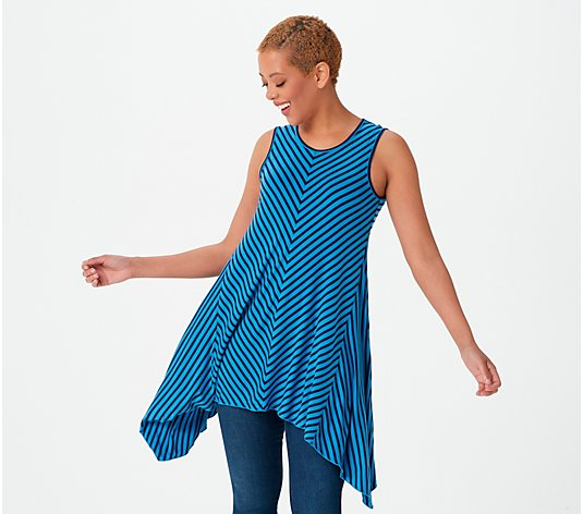 Truth + Style Knit Striped Sleeveless A-Line Drape Tunic