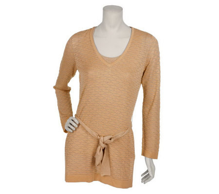 Susan Graver Metallic Pattern Tunic with Tank and Belt