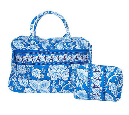 Vera Bradley Signaturecotton Weekender Bag With Large Cosmetic Case