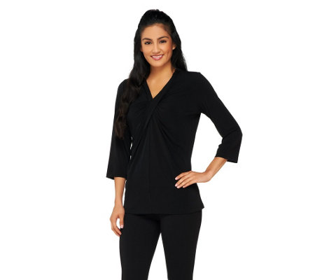 Susan Graver Liquid Knit Twisted V-neck 3/4 Sleeve Top