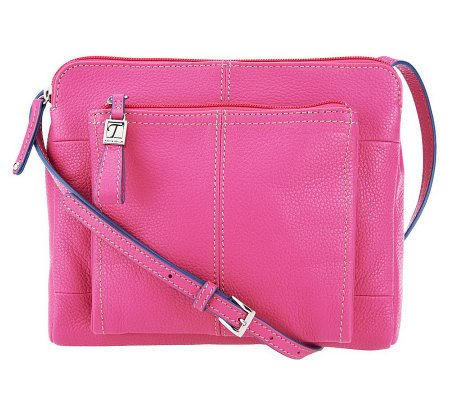 Tignanello Leather Triple Compartment Crossbody With Front Organizer