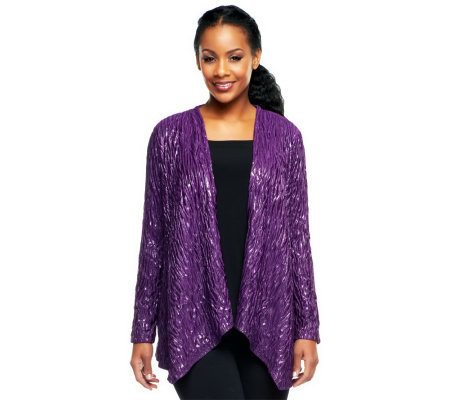 Bob Mackie's Crinkled Lurex Long Sleeve Knit Cardigan w/ Uneven Hem