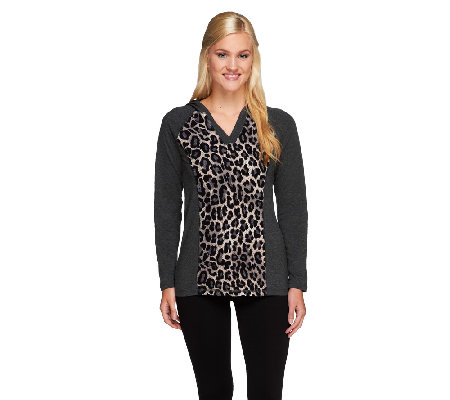 Denim & Co. Active Knit Pullover w/ Animal Print Inset and Hood