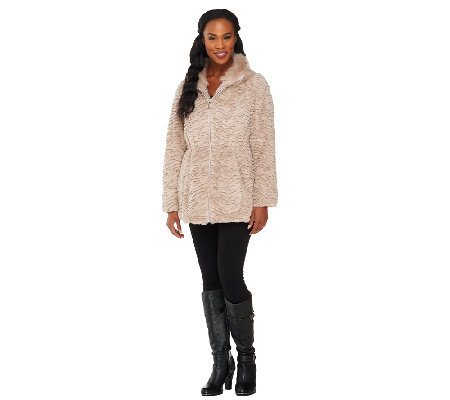 Dennis Basso Textured Faux Fur Zip Front Coat with Drawstrings