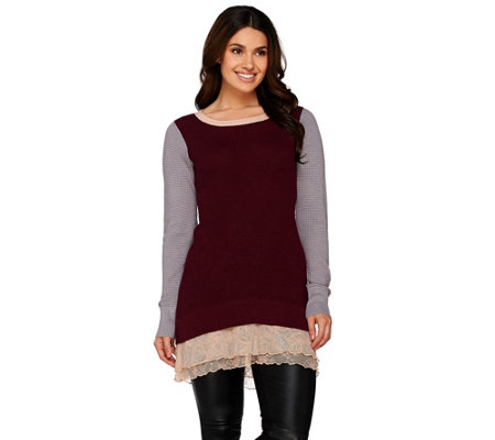 LOGO by Lori Goldstein Cotton Cashmere Color-Block Sweater